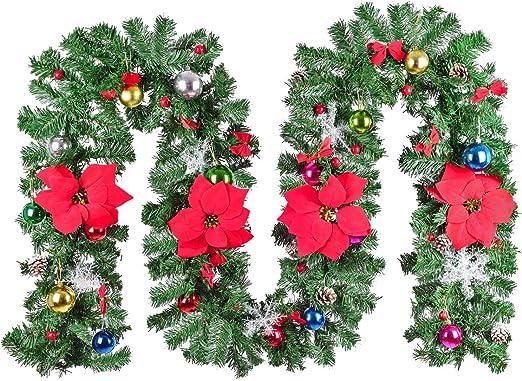 Amazon Com Lvydec 9ft Artificial Poinsettia Christmas Garland