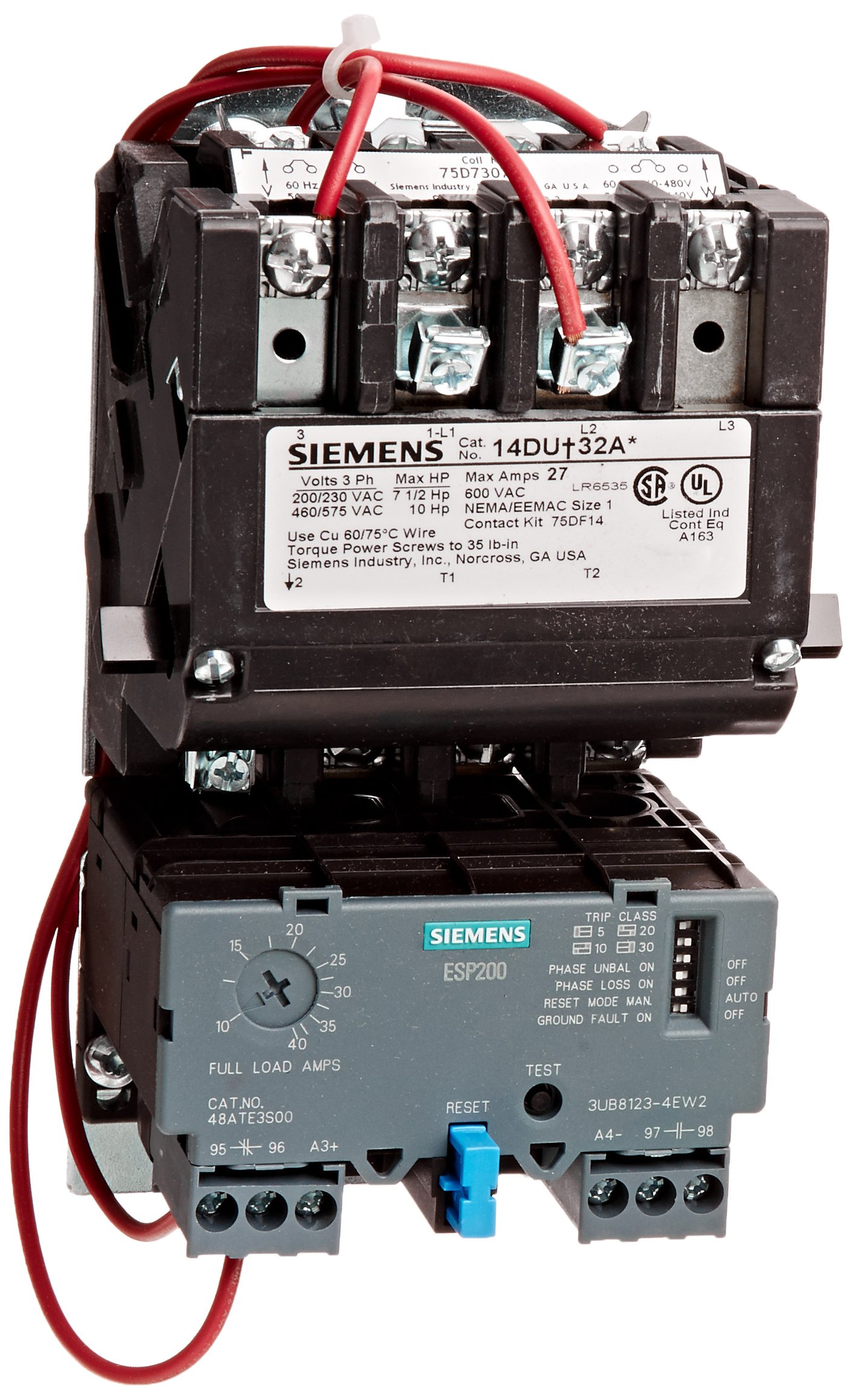 Siemens 14DUE32AC Heavy Duty Motor Starter, Solid State Overload, Auto/Manual Reset, Open Type, Standard Width Enclosure, 3 Phase, 3 Pole, 1 NEMA Size, 10-40A Amp Range, A1 Frame Size, 220-240/440-480 at 60Hz Coil Voltage