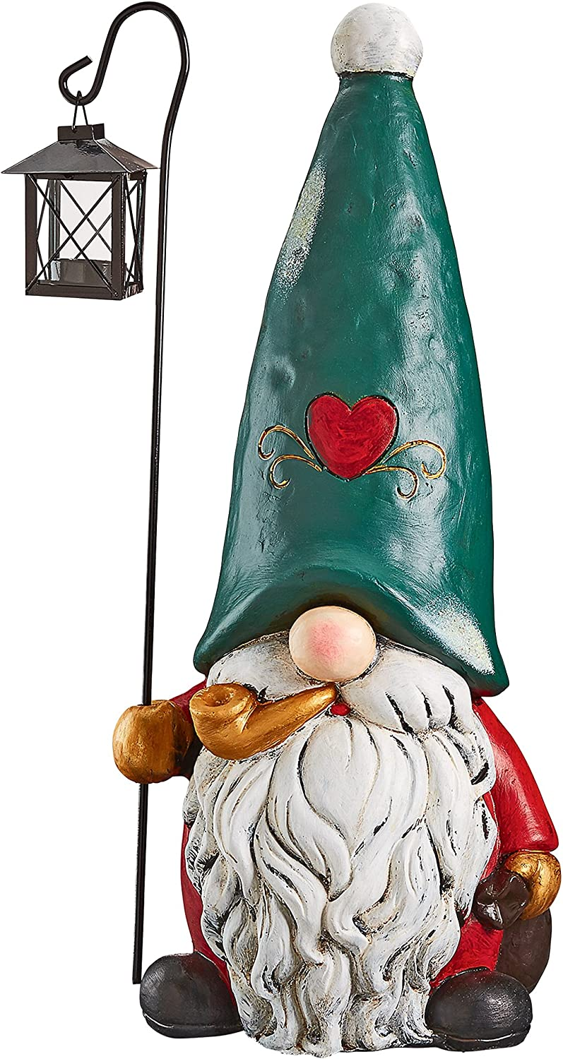 Christmas Decorations - Moe the North Pole Garden Gnome with Christmas Lantern Holiday Decor Statue