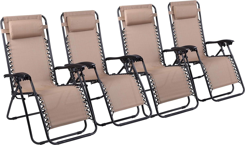 Naomi Home Zero Gravity Lounge Patio Outdoor Recliner Chairs Cream Set of 4