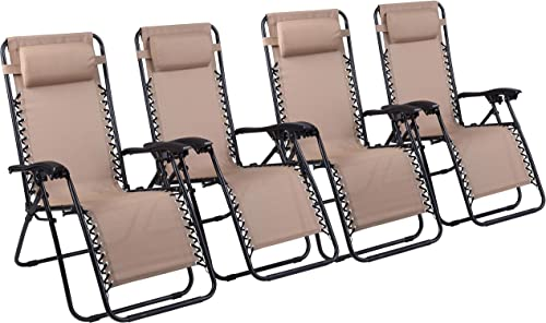 Naomi Home Zero Gravity Lounge Patio Outdoor Recliner Chairs Cream Set of 4