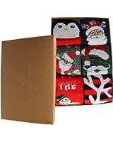 Men & Women Christmas Decoration Gifts Casual Crew Socks Santa Reindeer Tree Snowman Style Hosiery 6Pack Present Box