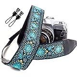Blue Woven Vintage Camera Strap for All DSLR Camera. Embroidered Elegant Universal Neck & Shoulder Strap, Floral Pattern Strap Best Stocking Stuffer for Men & Women Photographers