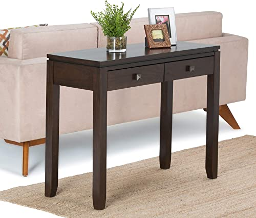 Simpli Home Cosmopolitan SOLID WOOD 38 inch Wide Contemporary Modern Console Sofa Entryway Table in Mahogany Brown with Storage, 2 Drawers , for the Living Room, Entryway and Bedroom