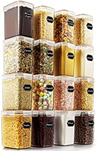 Airtight Food Storage Containers - Wildone Cereal & Dry Food Storage Container Set of 16 with Khaki Lids for Flour and Baking Supplies, Leak-proof & BPA Free, with 20 Labels & 1 Marker