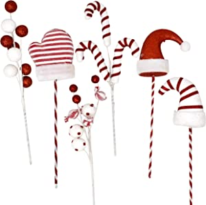 Gift Boutique Christmas Picks Plush Stuffed Santa Hat Gloves Candy Cane Balls and Candies with Red and White Stripes on Sticks Set of 6 Vase Filler Crafts & Tree Ornament Wreath Holiday Decorations