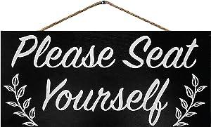 JennyGems Please Seat Yourself | Funny Bathroom Signs | Farmhouse Bathroom Decor | Restaurant Sign | Genuine Wood Sign | Made in USA