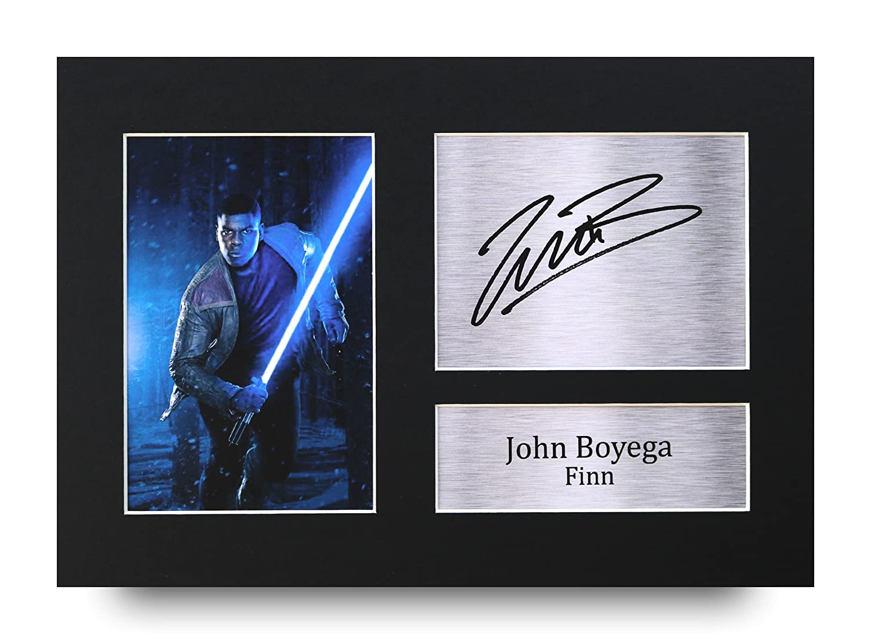 John Boyega Signed A4autographe Star Wars Finn Impression photo écran–Idée cadeau HWC Trading