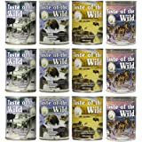 Taste of the Wild Grain-Free Canned Dog Food Variety Pack - Wetlands, Pacific Stream, High Prairie, and Sierra Mountain Pack of 12, 13.2 ounce cans by Taste of the Wild