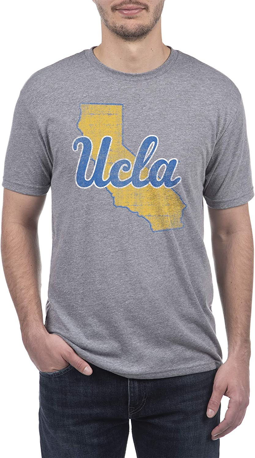 Top of the World NCAA Mens Modern Fit Premium Tri-Blend Short Sleeve Gray Heather Distressed State Icon Tee