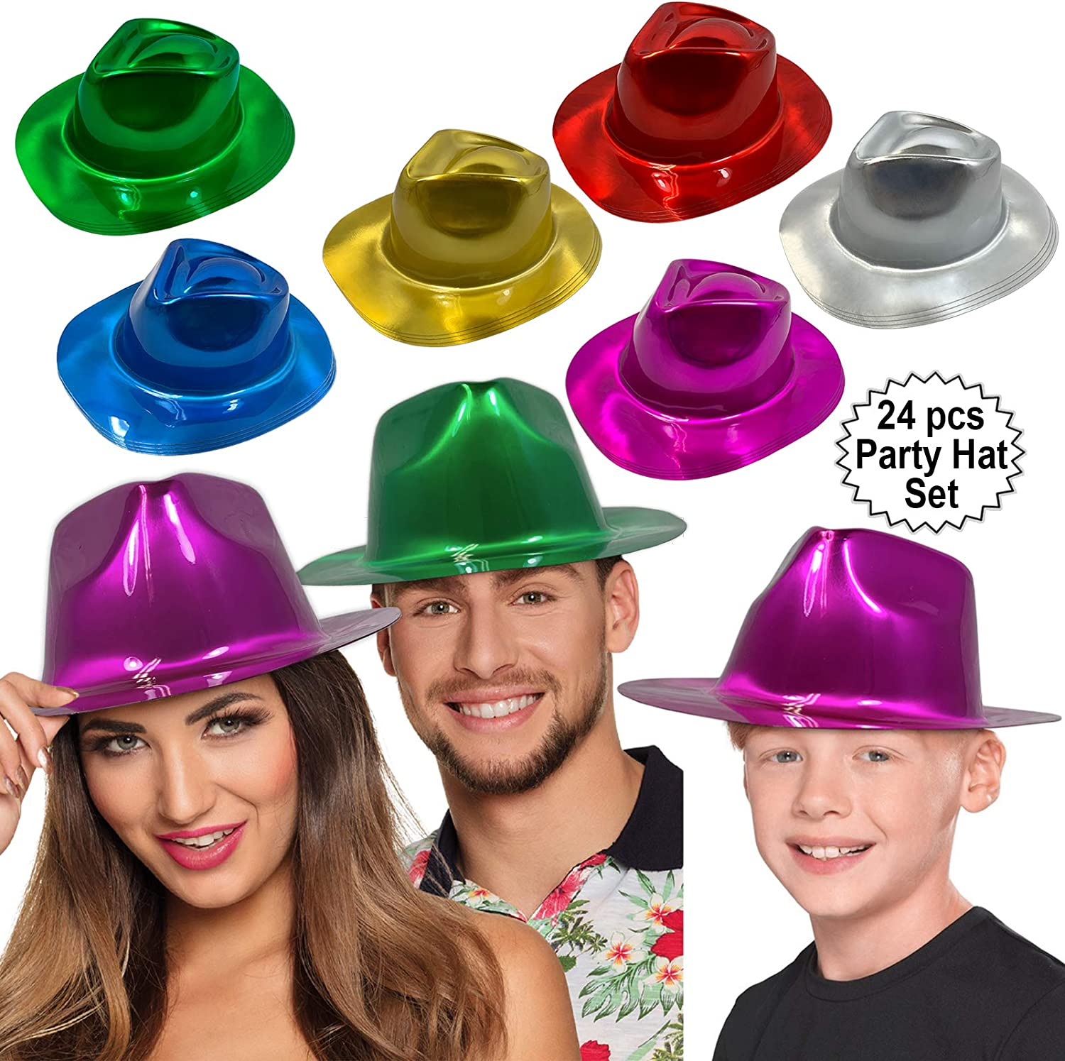 Anapoliz Party Gangster Hats 24 pcs   Metallic Assorted Colors, Plastic Fedora Party Hats for Kids, Adults   Costume, Dress Up, Photo Booth Parties: Clothing