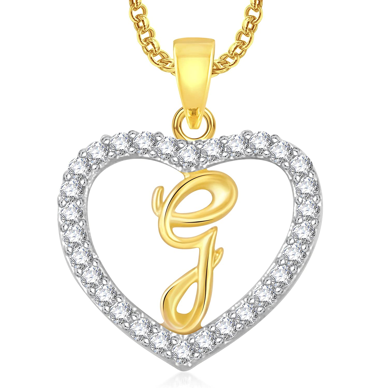 Buy meenaz g letter heart pendant locket alphabet for women and buy meenaz g letter heart pendant locket alphabet for women and men with chain gold plated in american diamond cz online at low prices in india amazon aloadofball Images