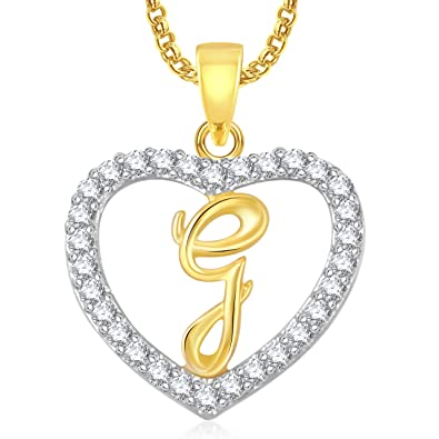 meenaz g letter heart pendant locket alphabet for women and men with chain gold