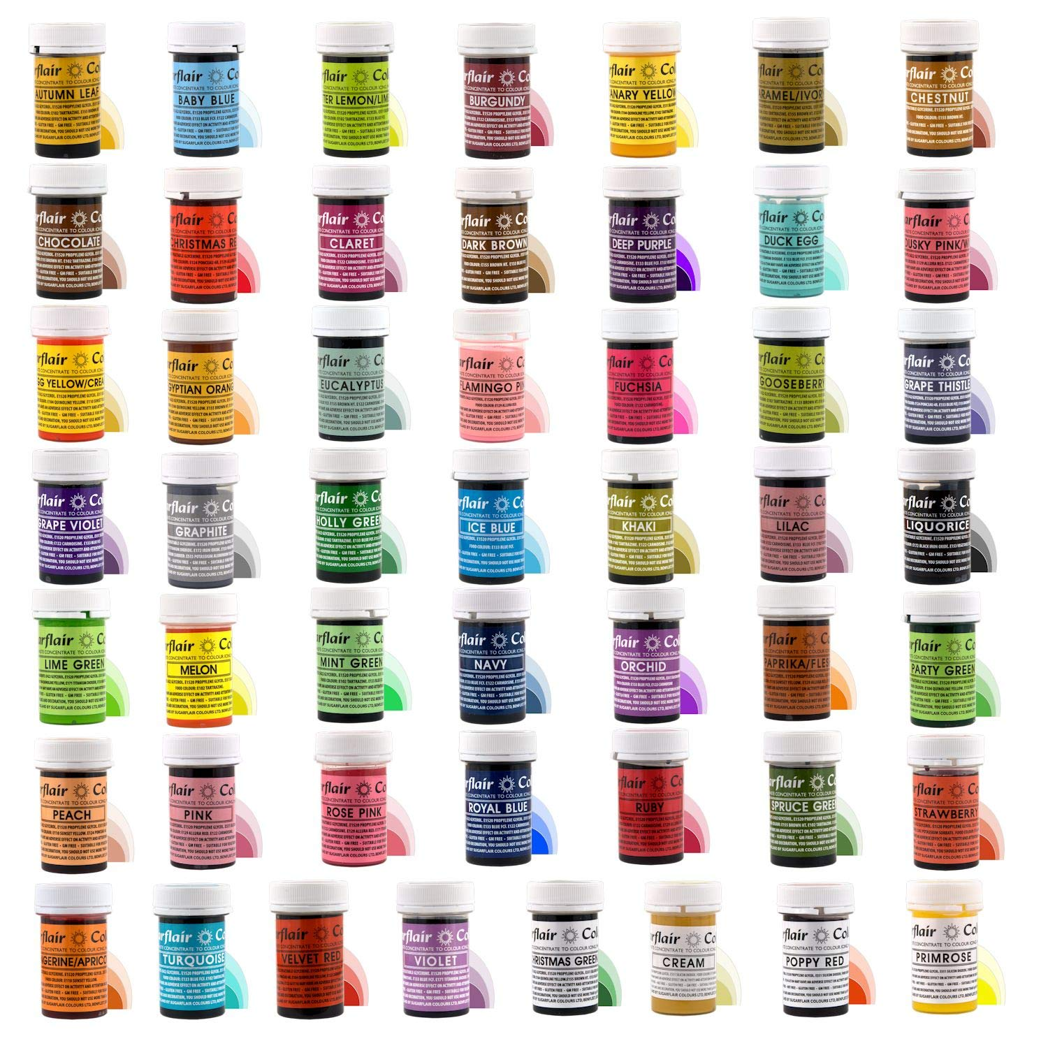 Full Set of 50 SUGARFLAIR edible concentrated gel food colours - Cake decoration essentials by Sugarflair (Image #1)
