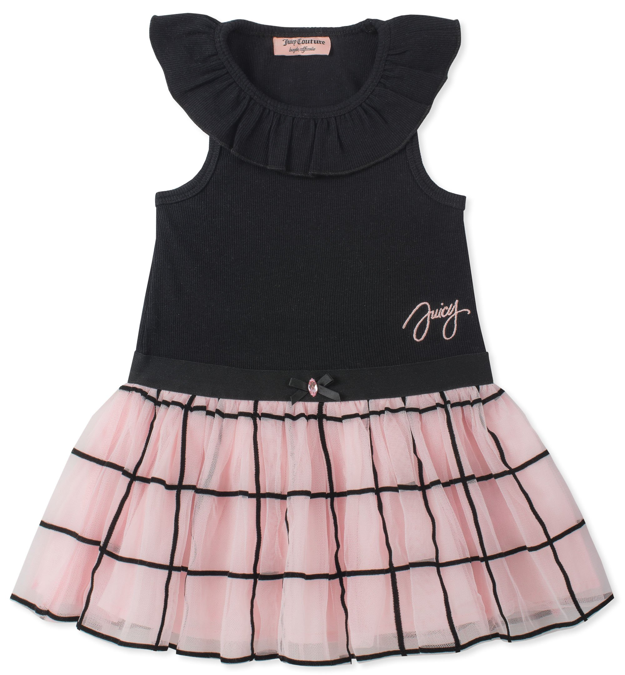 Juicy Couture Girls' Toddler Casual Dress, Black/Pink, 4T
