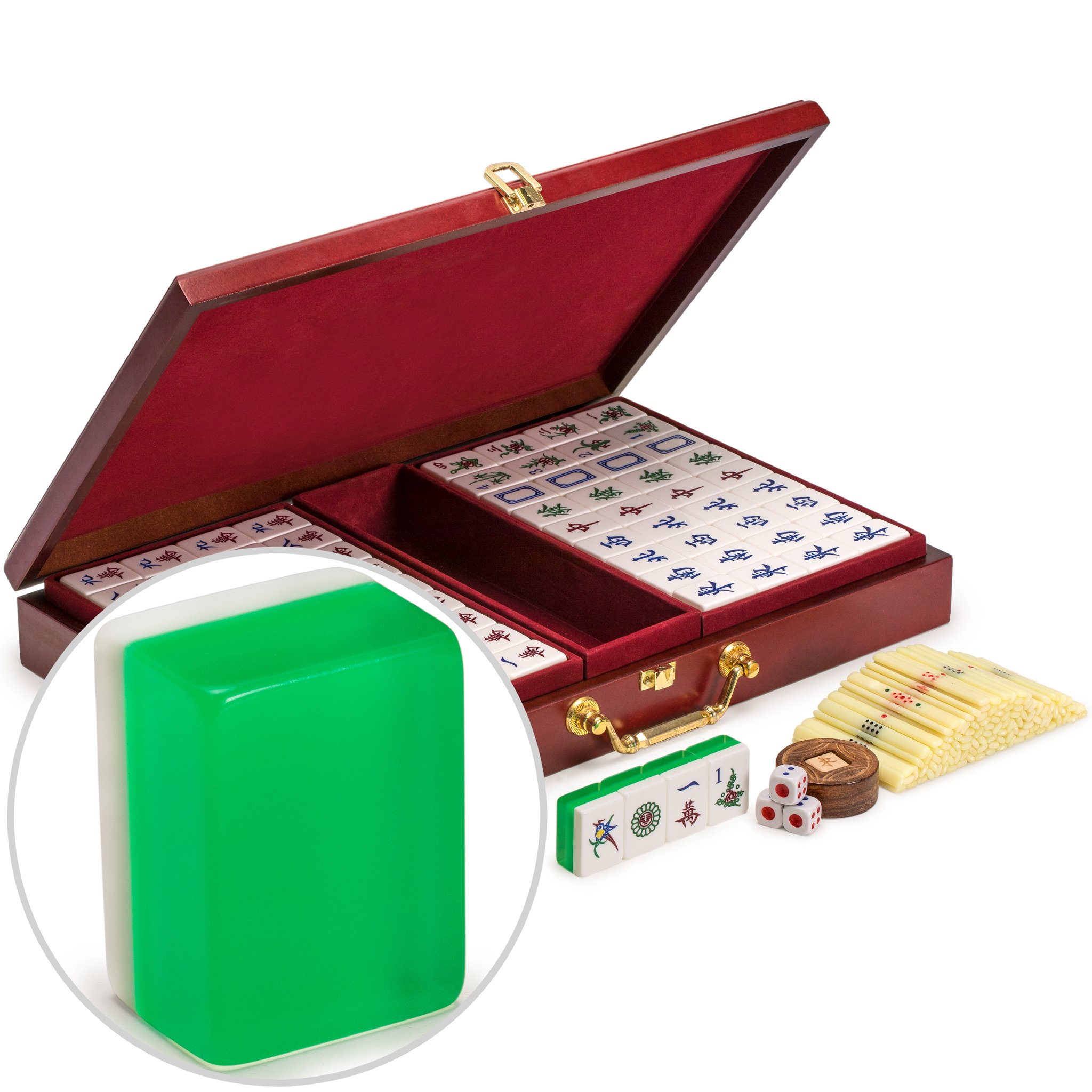 Yellow Mountain Imports Chinese Mahjong Set, Emerald - Medium Size Tiles: 1.3 x 1 x 0.6 inches (34mm x 25mm x 16mm) - for Chinese Style Gameplay Only