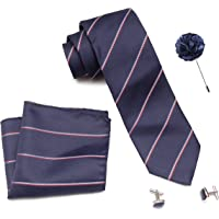 Axlon Men Formal/Casual Weaved Polyester Neck Tie Pocket Square Accessory Gift Set with Cufflinks and Lapel Pin - Blue (Free Size, ltr_804)