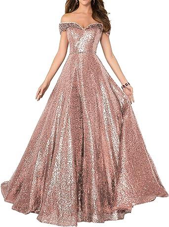 Amazon Com Formaldresses Off Shoulder Sequins Prom Dresses Long For Women Formal Evening Dress Plus Size Red Black Rose Gold Clothing