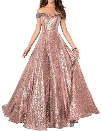 Formaldresses Off Shoulder Sequins Prom Dresses Long for Women Formal Evening Dress Plus Size Red Black