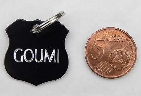 1 medalla negra insignia policía perro gato Collar arnés pequeño ...