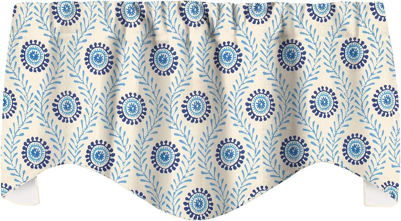 "Decorative Things Window Treatments Valance Curtains Kitchen Window Valances or Living Room Waverly Fabric Block Print 53""x18"""