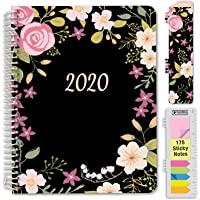"""HARDCOVER Calendar Year 2020 Planner: (November 2019 Through December 2020) 8.5""""x11"""" Daily Weekly Monthly Planner Yearly Agenda. Bonus Bookmark, Pocket Folder and Sticky Note Set (Black Floral)"""