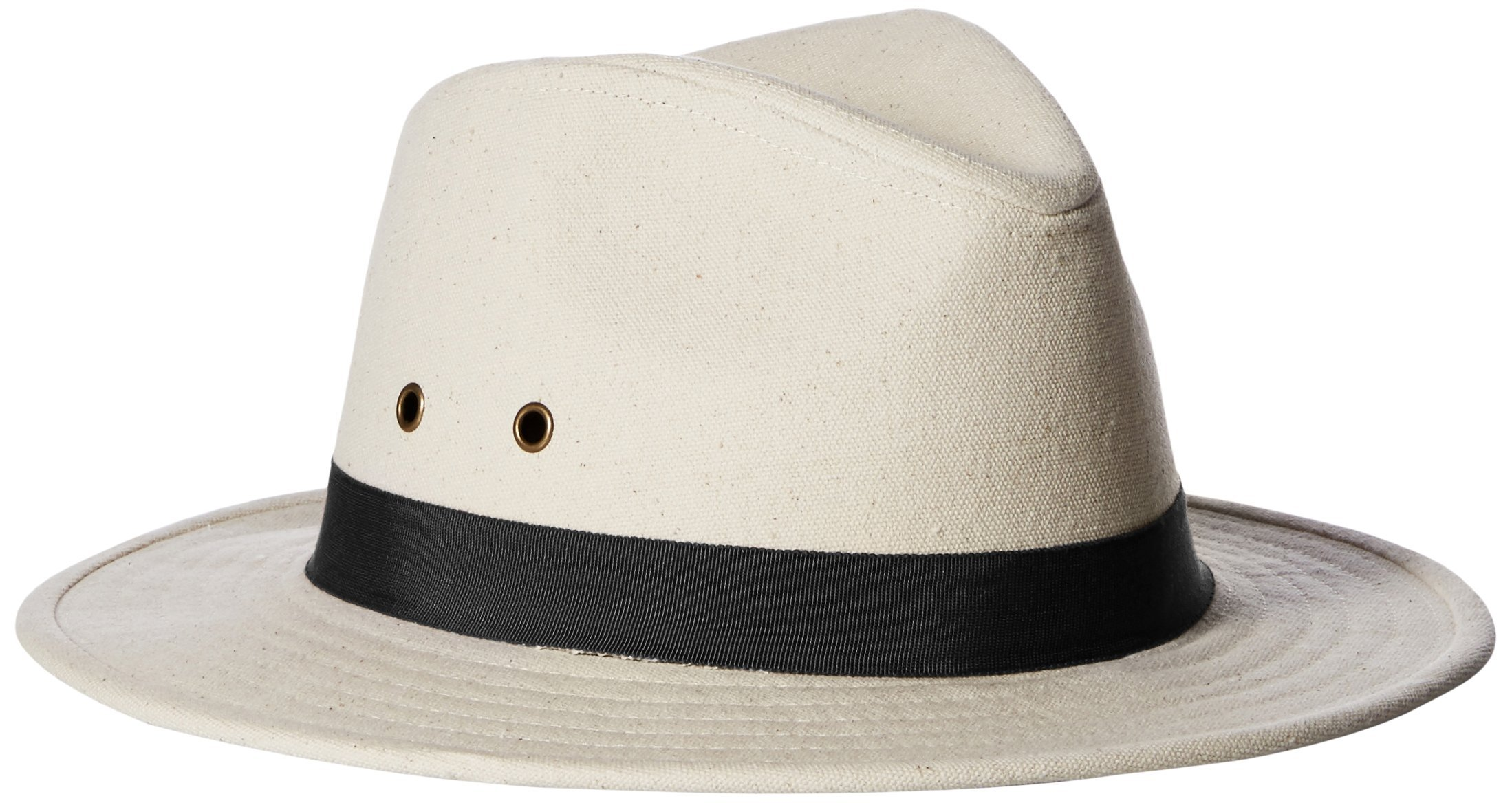 'ale by alessandra Women's Skyler Adjustable Canvas Fedora Hat with UPF 50+, Natural/Black, Adjustable Head Size