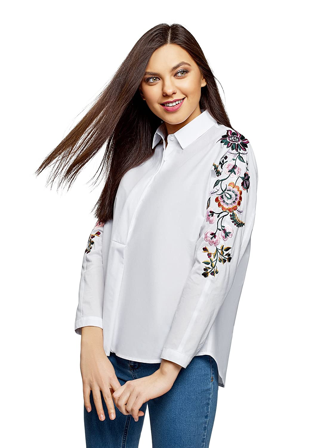 White (1000n) oodji Ultra Women's Embroidered Cotton Shirt
