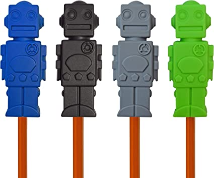 Set of 4 Munchables Chewelry Sensory Aides Chew Blockz Pencil Toppers Green//Blue//Navy//Ocean