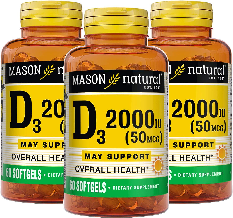 Mason Natural Vitamin Ultra Strength D3 2000 Iu, 60 Softgels, 3 Count