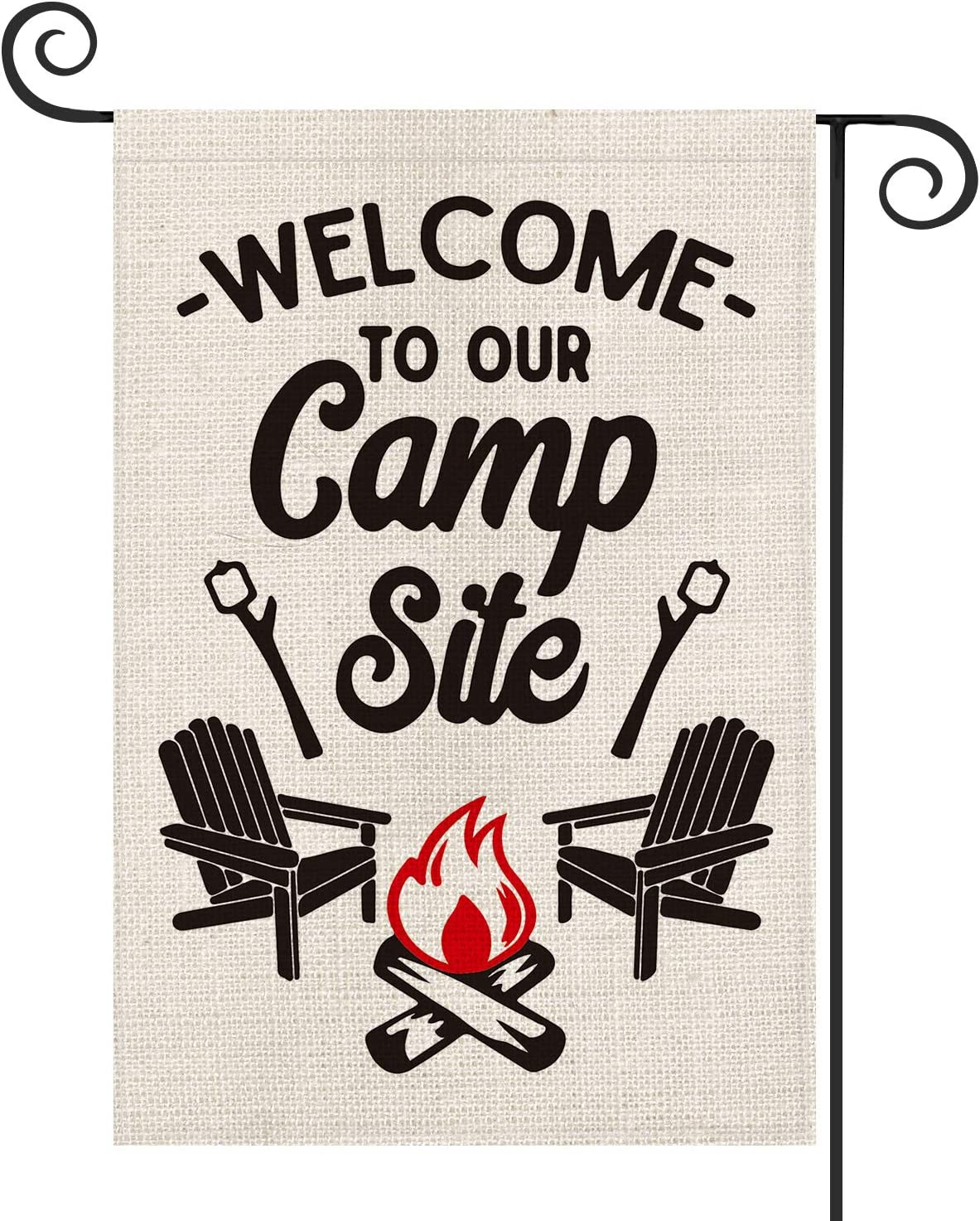 AVOIN Welcome to Our Camp Site Garden Flag Vertical Double Sided, Cottage, Log Fire Chair Flag Yard Outdoor Decoration 12.5 x 18 Inch