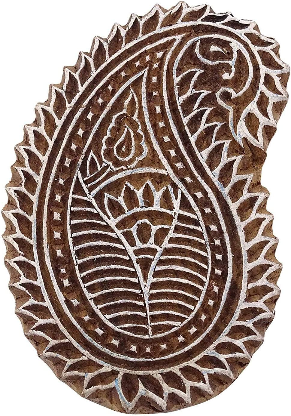Handcarved Stamp Brown Paisley Wooden Textile Stamps Indian Decorative Blocks