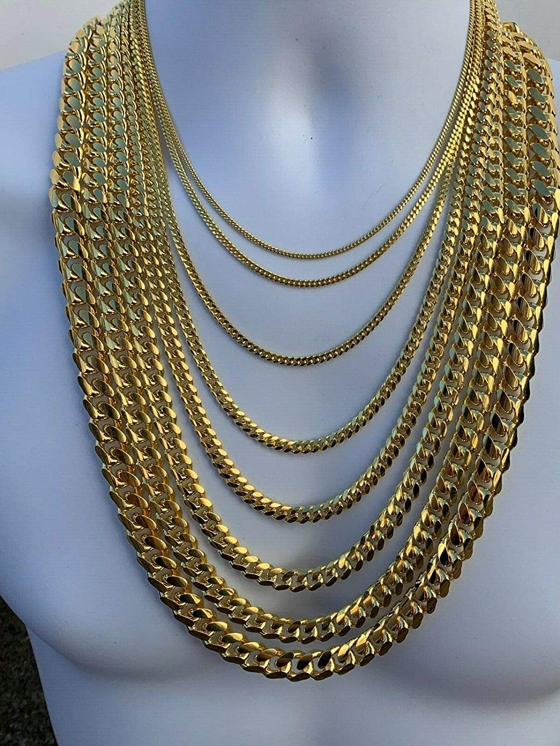 14k Gold Plated Solid 925 Sterling Silver Miami Cuban Link Chain 2-12mm 18-30- Great Mens Or Ladies Heavy Necklace for Pendants Italy Made