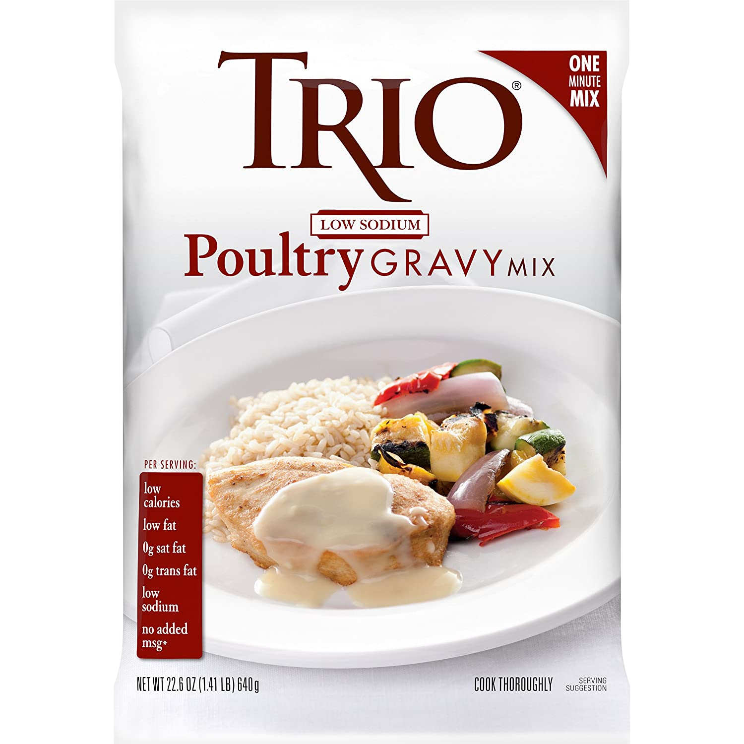 Trio Low Sodium Poultry Gravy Mix, Dehydrated Foods, Low Sodium Foods, 22.6 oz