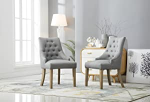 Roundhill Furniture C169GY Button Tufted Solid Wood Wingback Hostess Chairs with Nail Heads, Set of 2, Grey