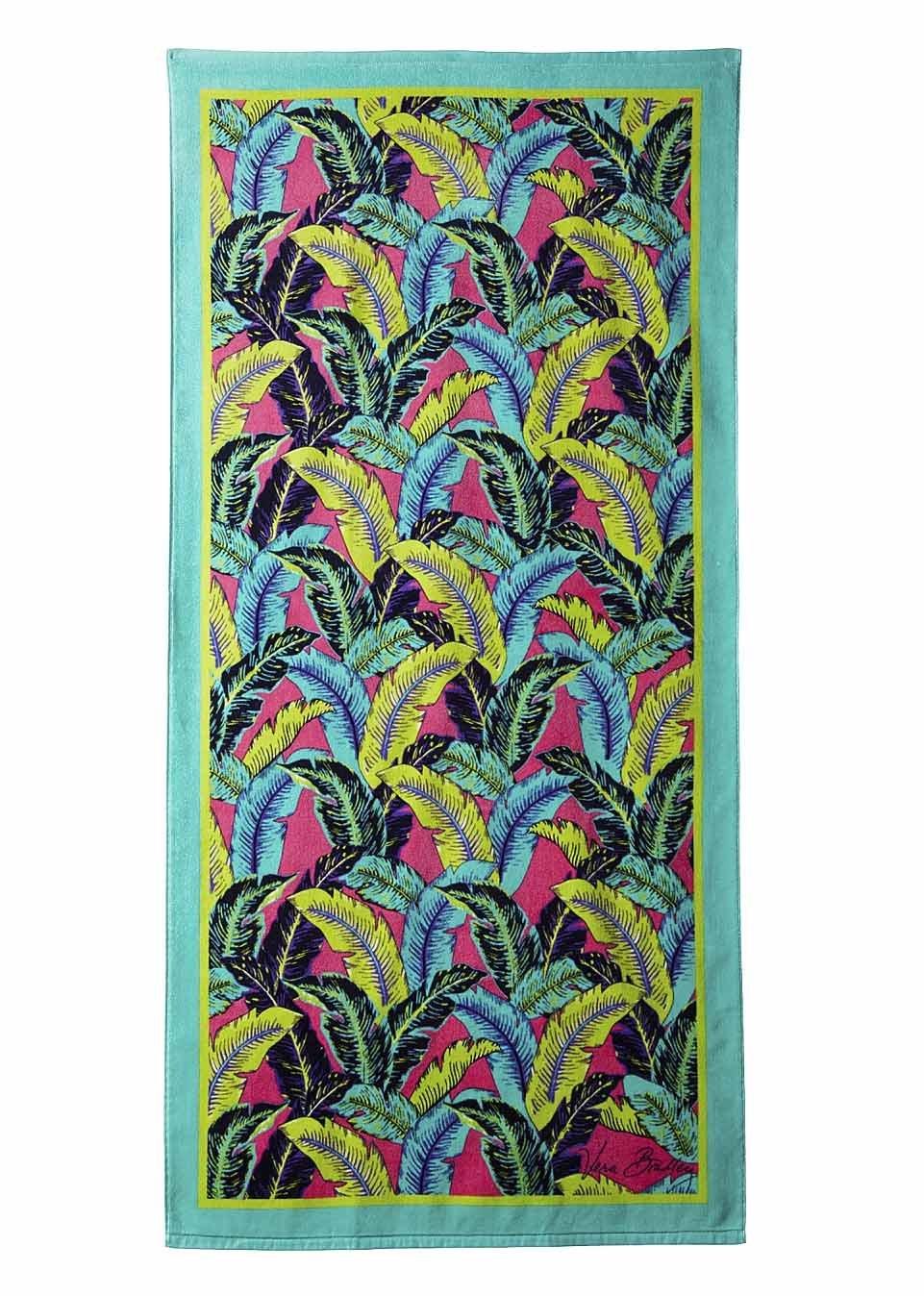 Amazon.com: Vera Bradley Beach Towel Palm Feathers Green Cotton Pool ...