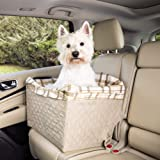 PetSafe Happy Ride Quilted Dog Safety Seat - Pet Booster Seat for Cars, Trucks and SUVs - Included Seat Belt Tether - Durable Padded Liner is Machine Washable and Easy to Clean