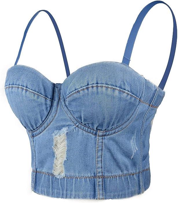 ce3d577f9a ELLACCI Deium Hole Sexy Women s Bustier Crop Top Jean Corset Top Bra  Detachable Straps Small