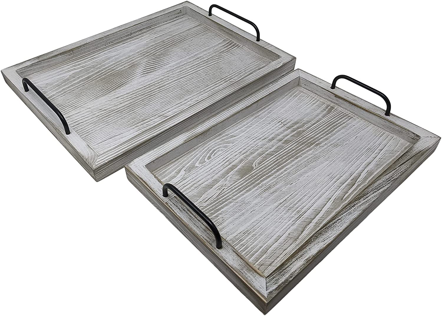 Gianna's Home Rustic Farmhouse Set of 2 Food Serving Trays with Metal Handles (Rustic White)
