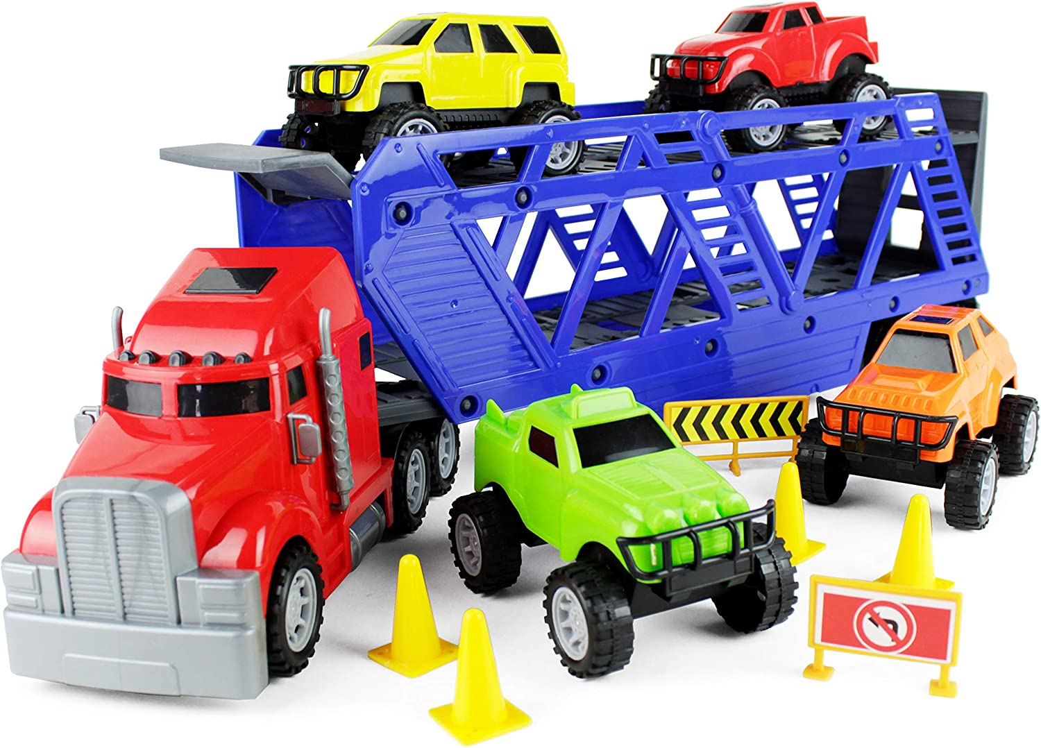 Boley 5-in-1 Big Rig Hauler Truck Carrier Toy - Complete Trailer with Construction Toys and Accessories - Great Toy for Boys, Girls who Love Cars and Trucks!