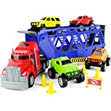 Boley 5-in-1 Big Rig Hauler Truck Carrier Toy Complete Trailer with Construction Toy Toy Toy Signs and Monster Jam Great Toy for Boys, G