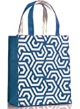 H&B Jute Bag - Gift Bag - Reusable bags | Jute bag for Lunch | Jute Lunch Bag | Tiffin Bag | shopping Bag | Tote Bag | Handbag - Handcrafted, Hand Printed - Sustainable designs (Hexa, Denim Blue)