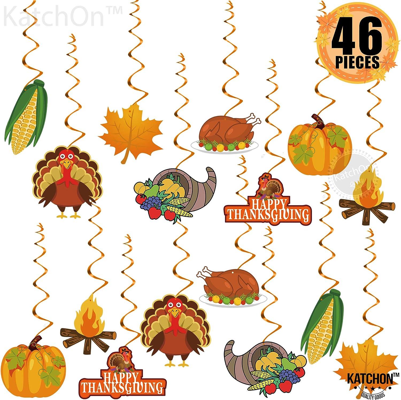 Thanksgiving Swirls Hanging Decorations - Pack of 46   Thanksgiving Decorations for Home, Office   Thanksgiving School Decorations   Thanksgiving Door Decorations Swirls with Turkey,Pumpkin Cutouts