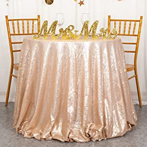 ShiDianYi Champagne Blush Sparkly Sequin Tablecloth for Wedding (120'' Round)