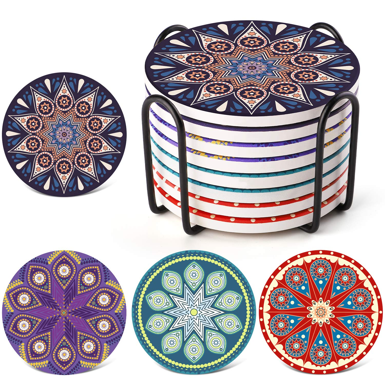 LIFVER Absorbent Drink Coasters with Holder, Set of 8 Mandala Style Ceramic Stone Coasters with Cork Base, 4 Inches Coaster Sets, Multicolors by LIFVER