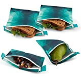 Nordic By Nature Premium Turquoise Sandwich & Snack Bags | Designer Set of 4 Pack | Resealable, Reusable and Eco Friendly Dishwasher Safe Lunch Bags | Functional Easy Open Zipper | Great Value Bags