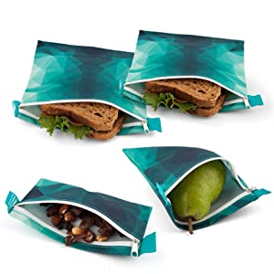 Reusable Sandwich Bags - Set of 4 Nordic By Nature Premium Insulated Reusable Snack bags | Dishwasher Safe | Easy Open Zipper Lunch Baggies | BPA Free & Food Safe Wraps | Turquoise
