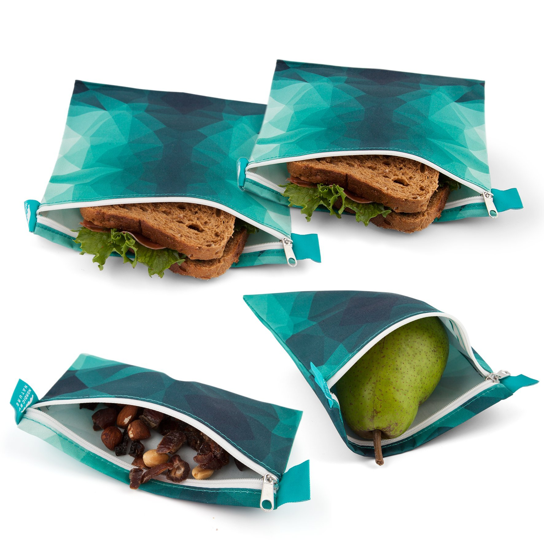 Nordic By Nature Premium Sandwich & Snack Bags | Designer Set of 4 Pack | Resealable, Reusable and Dishwasher Safe Lunch Baggies | Easy Open Zipper | Great Lunch Prep Bags | Turquoise