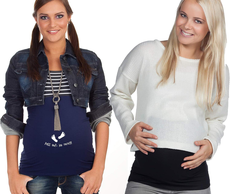 Mamaband Schwangerschaft Bauchband f/ür die Babykugel im Doppelpack 1xUni 1xPass auf ich trete Elastische Umstandsmode Dunkelblau 42-48 R/ückenw/ärmer und Shirtverl/ängerung f/ür Schwangere