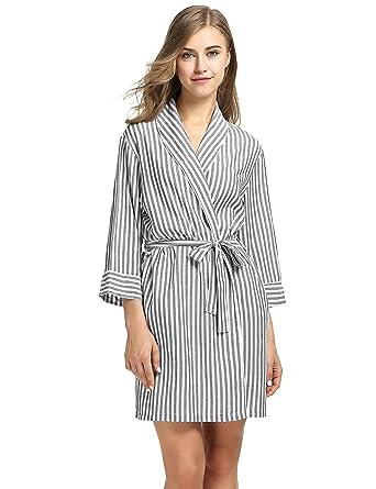 1adb68eb86 Ekouaer Short Robe Womens Viscose Knit Sleepwear Loungewear Bathrobe  (Black